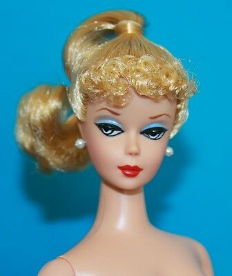 Vintage BARBIE Reproduction NUDE Blonde CURLY Poodle Bangs Ponytail WHITE IRIS