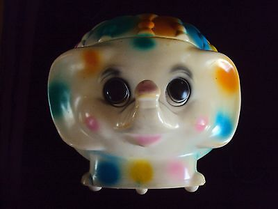 Vintage Hard Plastic Circus Elephant Coin Piggy Bank Pink Yellow & Blue
