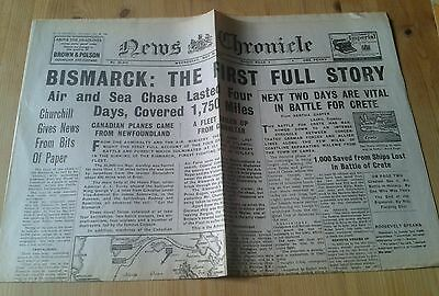 News Chronicle Newspaper-WW2- May 28th 1941- Bismarck:The First full story.