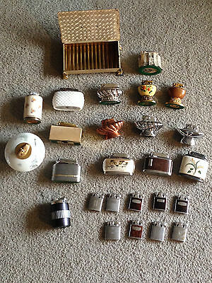 26  piece  LARGE RONSON COLLECTION  Table lighters, Pocket lighters, & Cig. Box