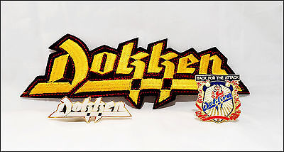 Dokken Lot Of 2 80's Concert Tour Pins & Iron-On Patch Back For The Attack