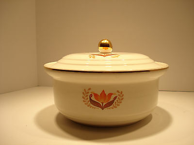 Vintage Bakerite Covered Casserole Dish with 22 kt Gold Trim