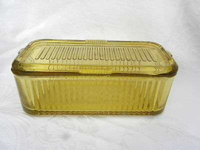 Vint. Federal Yellow Depression Glass Rectangle Ribbed Covered Refrigerator Jar