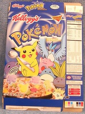 Kellogg Pokemon Cereal Box flat - Limited Edition 2000  - rare in excellent cond