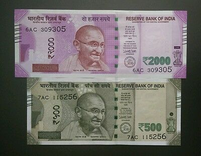 Unc New 2016 India 2000 & 500 Rupees Gandhi Urijit Patel Currency Money Note