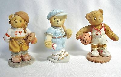 Group of 3 Sports Themed ENESCO Cherished Teddies: Lou, Butch and Larry MIB