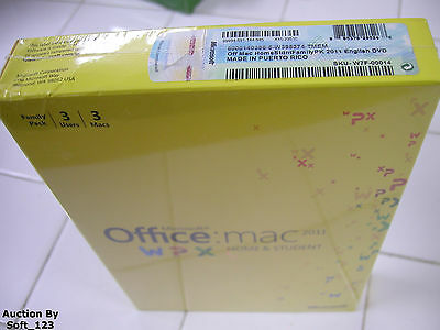 MS Microsoft Office MAC 2011 Home and Student Family Pack For 3MACs =RETAIL BOX=