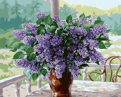 "16x20"" DIY Acrylic Paint By Number kit Oil Painting On Canvas Lavender Flower"