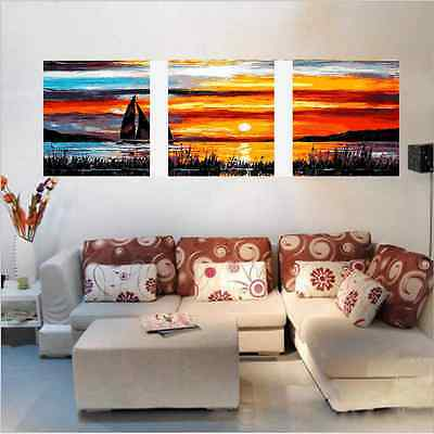 "20X20"" DIY Acrylic Paint By Number kit Oil Painting Three Parts Sunset Glow Boat"