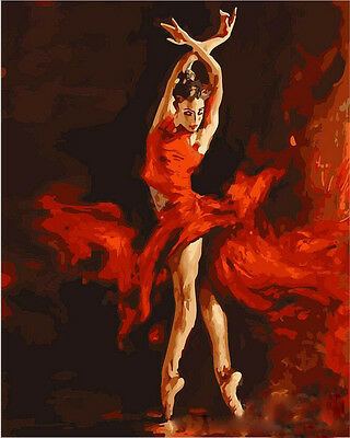 "DIY Acrylic Paint By Number 16X20"" kit Oil Painting On Canvas Dancing Lady"