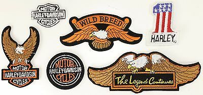 Lot of 6 NEW Small Vintage Harley-Davidson & Other Patches Eagle #1 Legend