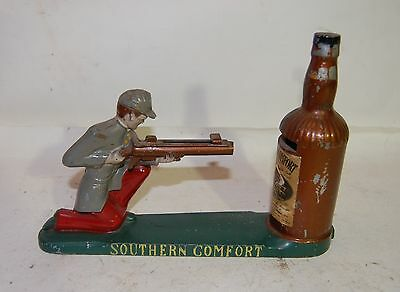 """VINTAGE SOUTHERN COMFORT 9"""" MECHANICAL COIN BANK with CONFEDERATE SOLDIER"""