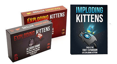 Exploding Kittens & Imploding Kittens First Expansion Board Card Game & Red/NSFW