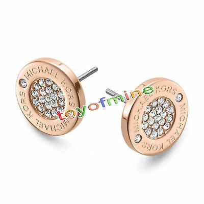 Women zircon Gold Silver Rose Circle Stud Earrings New Charm Festival Gift