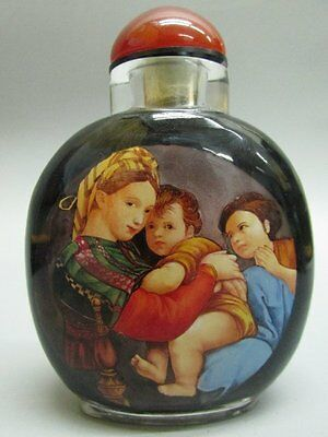 Chinese Glass Hand Inside-drawing Mater Children Snuff Bottle