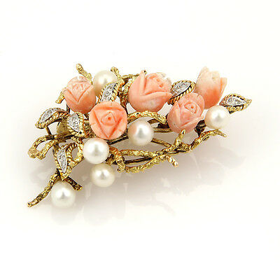 Estate 14K Yellow Gold Diamond Carved Coral And Pearl Floral Pendant Brooch
