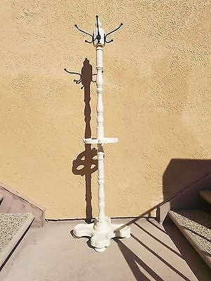Vintage 1950s? Hall Tree Hat Rack / Umbrella Stand White Cottage Style Painted