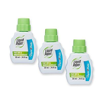 Paper Mate Liquid Paper Fast Dry Correction Fluid, 22ml, 3-Count