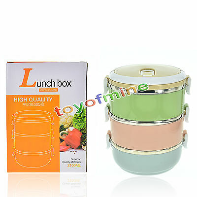 Portable Stainless Steel Thermos Lunch Box Thermal Insulated Food Container Box