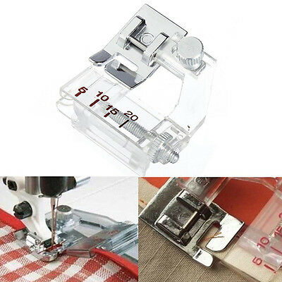 Adjustable BIAS BINDING FOOT Domestic Sewing Machines Snap on Presser Metall HOT