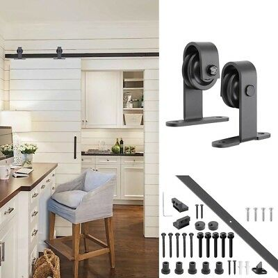 2m Sliding Barn Door Hardware Track Set Kit No Joint Interior Closet Rollers