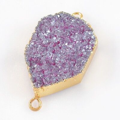 Natural Agate Titanium Druzy Connector Gold Plated T024931