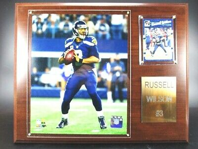Russell Wilson Seattle Seahawks Holz Wandbild 38cm,Plaque Wall Pic NFL Football