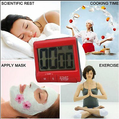Large LCD Digital Kitchen Timer Count-Down Up Clock Loud Alarm new PY