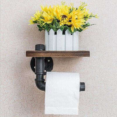 Iron Pipe Industrial Style Bathroom Toilet Paper Holder Roller With Wood Shelf