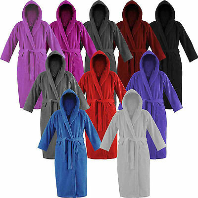 Mens Womens 100% Egyptian Cotton Terry Toweling Gown Dressing Bathrobe Hooded