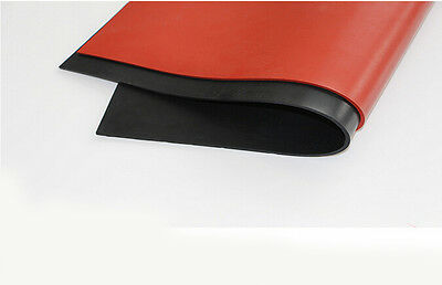 "20""X20"" Silicone Rubber Sheet Plate Mat High Temp Commercial Grade Black Red"
