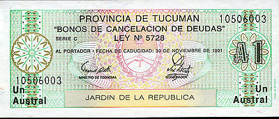 ARGENTINA 1 Austral 1991 Provincia de Tucuman Almost Uncirculated FREE SHIPPING