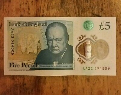£5 Note Rare AA22 Five Pound Note