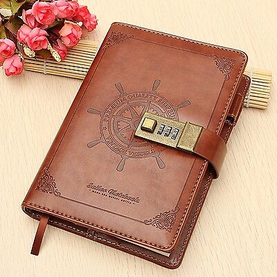 MOHOO Vintage Brown B6 Rudder Leather Diary Notebook With Combination Lock 11...