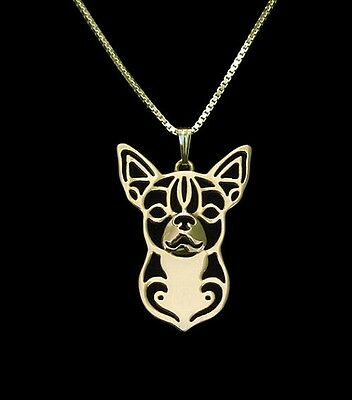 Chihuahua Dog Pendant Necklace Gold Plated ANIMAL RESCUE DONATION