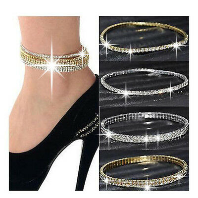 Womens Silver Look Stunning Diamante Rhinestone Anklet Ankle Chain Not Bracelet