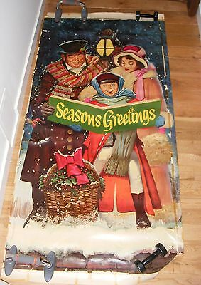 Vintage 1965 Roll Out Paper Merry Christmas Carolers Store/Door Decoration Cool