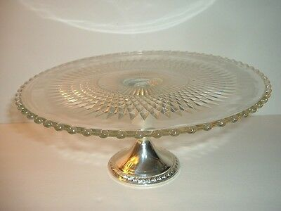 Glass Cake Plate or Stand with Weighted Sterling Silver Base