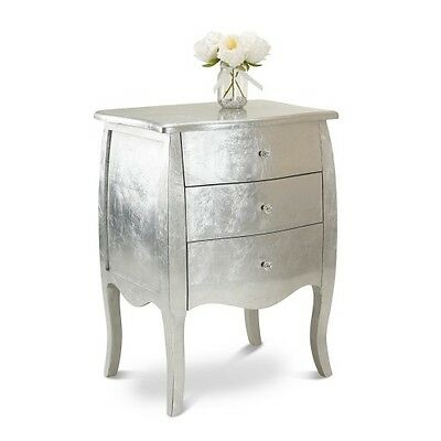 Silver Shabby Chic Console Side Side Table Hallway French Bedroom 3 Drawers