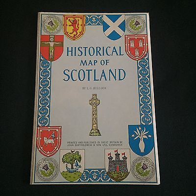 A Good Condition Vintage Bartholomew's HISTORICAL MAP OF SCOTLAND by LG Bullock