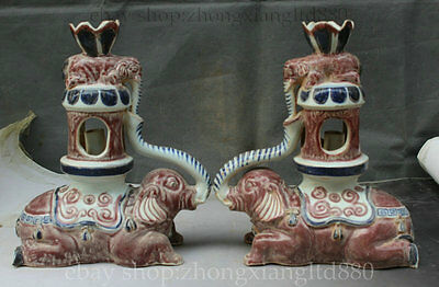 """13"""" Chinese Porcelain Palace Double Elephant lampstand Stand Candle Holder Pair"""