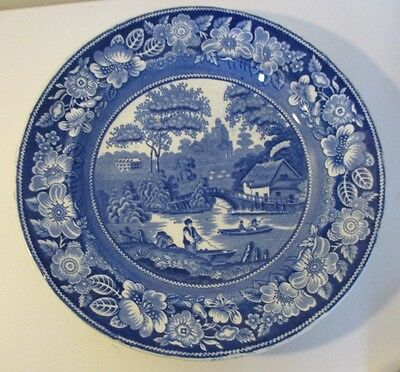 Antique early Victorian blue & white 'Improved Wild Rose' plate Perfect Oxford