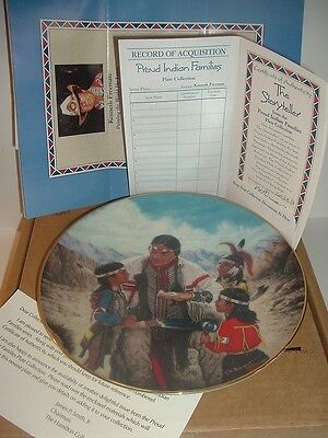 1991 The Storyteller 1st Issue Proud Indian Families Plate w/ COA