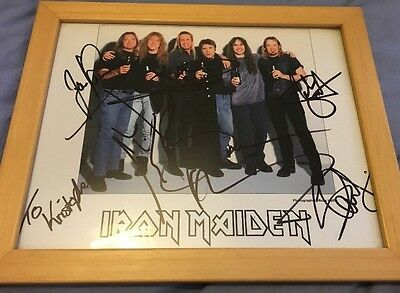 Iron Maiden Hand Signed Framed Fan Club Photo