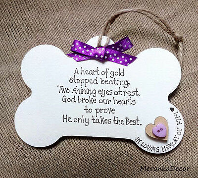 PET BONE SHAPE MEMORIAL-Dog-Cat Indoor Wooden Personalised Plaque- Purple