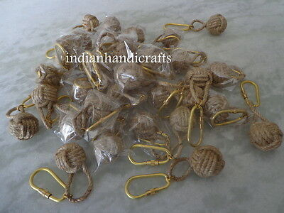 Natural Color Monkey Fist Rope Knot KeyChain Ring Lot Of 50 Pcs Fine & handmade