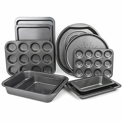 Set of 10 Baking Non Stick Oven Tray Sets - Carbon Steel