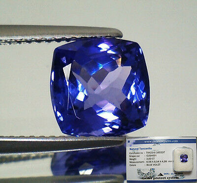 Tanzanite  D-Block In Blister Gemmologico Vvs If 3,00 Cuscino
