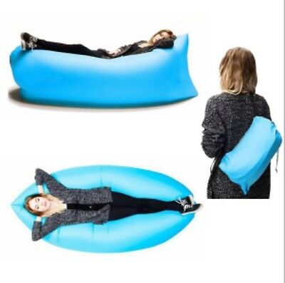 Blue Lazy Bag Inflatable Air Bed Sofa Camping/Festivals Blow Up Chair *NEW*UK*