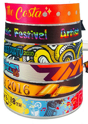 100 Personalised Fabric Wristbands - Your wristband/your design (2/3 DAY DEL)